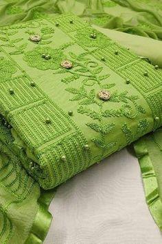 Green Cotton Embellished Unstitched Straight Suit Latest Salwar Suits, Indian Salwar Suit, Salwar Kameez Online, Suit Shop, Green Cotton, Pattern Design, Blanket, Clothes For Women, Crochet