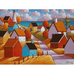 Scenic summer town cottages and coastal lighthouse stand by a deep blue ocean, you can own this one of a kind painting, featuring vibrant colors