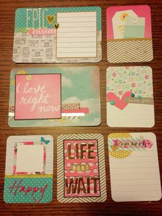 Handmade project life cards: Pink blue and by CodisCustomCards