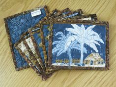 Quilted Coaster  Palm Tree Island Blue 448  by QuiltinWaYnE