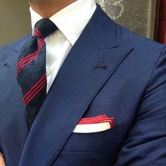 "Viola Milano ""Navy/Red"" shantung tie & handrolled ""Red border"" linen pocket square…"