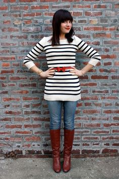 Stripes and a bow belt.