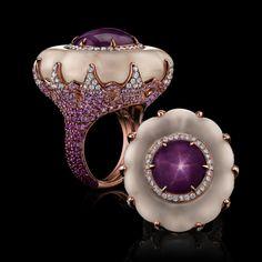 Star Ruby & Carved Quartz Ring - Robert Procop
