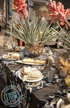 SUMMER 2013 - Tempting tablescape at Ro presents a pitch-perfect display by incorporating & florals that complement today's popular driftwood finishes. Las Vegas World, Furniture Market, Pitch Perfect, World Market, For Your Party, Driftwood, Tablescapes, Linens, Florals