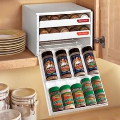 Space-saving drawers make spices easy to find. I love this! I love seeing my spices organized! :)