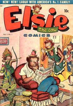 the adventures of Elsie the Cow and her family. It was published by footnote comics publisher D. Publishing which lasted only though half of 1948 publishing this three issue comic Vintage Comic Books, Vintage Comics, Comic Books Art, Children's Books, Retro Advertising, Vintage Advertisements, Vintage Ads, Vintage Style, Elsie The Cow