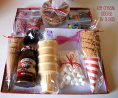 "Ice Cream Social in a Box! --What a ""cool"" gift to give! Great for Teacher Appreciation gift, Neighbor gift, or as a family gift"