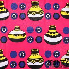 Wax Africain N°081 : Motif Cruche Fond Fushia