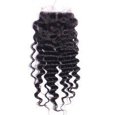 7A Malaysian Deep Wave Lace Closure Bleached Knots With Baby Hair Malaysian Virgin Hair Lace Closure Deep Wave 4X4 Natural Black