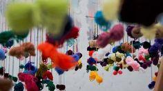Installation process of the work Lanas (Yarns) by Juan Hidalgo Alberto Burri, Reggio Emilia, Artistic Installation, Yarn Bombing, Rug Hooking, Fiber Art, Lana, Weaving, My Arts