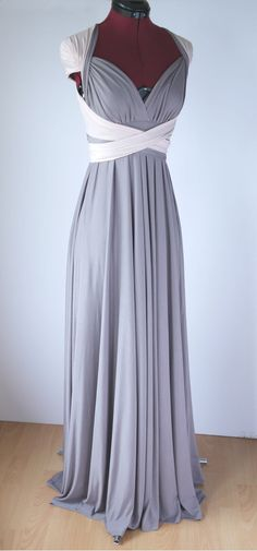 SAMPLE SALE - Floor Length Two Tone Convertible/Infinity Dress in Taupe and Light Salmon - Size S/M