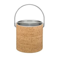 Natural Cork 3 Qt. Ice Bucket with Bale Handle, Stainless Bar Lid