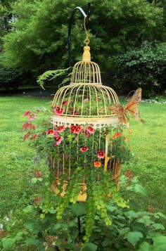 My birdcage planter from two weeks ago!! The first picture, I posted previously, was from early in May! Come July and August it will be SPECTACULAR!! #BirdcagePlanter