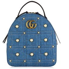 Gucci Denim Marmont Backpack ($2,135) ❤ liked on Polyvore featuring bags, backpacks, denim, day pack rucksack, structured backpack, denim backpack, blue backpacks and denim bag