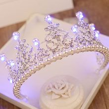 2018 European Pearl Tiara Light Rhinestone Royal Queen Crown for Women Hair Ornaments Bridal Wedding Large LED Crowns Birthdtay _ {categoryName} - AliExpress Mobile Version - Cute Jewelry, Hair Jewelry, Bridal Jewelry, Jewellery, Crown For Women, Girls Crown, Queen Crown, Crystal Crown, Bridal Crown