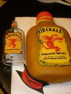 Fireball Cinnamon Whisky themed cake