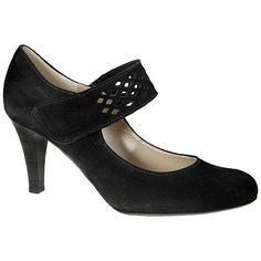 Gabor Tori Suede Punched Strap Mary Jane Court Shoes, Black
