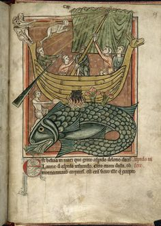Whale, English Bestiary (Harley 4751), author unknown, 13th century, housed at the British Library.