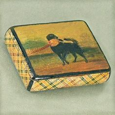 Unusual Antique Tartan Ware Stamp Box with sweet dog painting on the lid. Ca. 1850