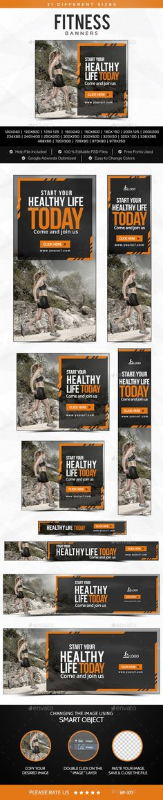 Fitness Banners Template #design Download: http://graphicriver.net/item/fitness-banners/11448784?ref=ksioks