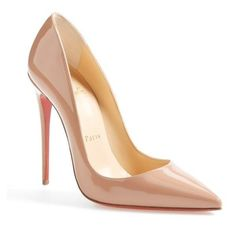 Women's Christian Louboutin 'so Kate' Pointy Toe Pump (€560) ❤ liked on Polyvore featuring shoes, pumps, nude, stilettos shoes, christian louboutin shoes, nude shoes, pointy-toe pumps and pointed toe high heels stilettos