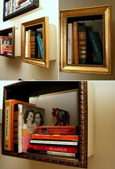 If space doesn�t allow you to have a full size bookshelf (or you just love being different), here�s a great DIY solution!    With a little MDF, an old frame and some hardware for wall mounting, you can build yourself a framed bookshelf.    What do you think?    changeofsceneries...