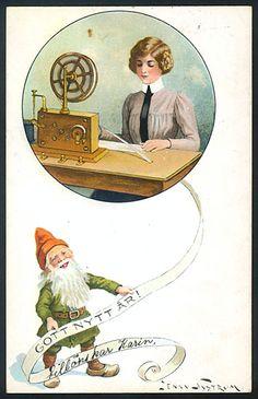 Jul- och Nyårskort av Jenny Nyström. Stämplat år 1910.