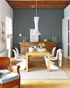 Dinning room. modern wood and textures.