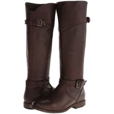 Frye Phillip Riding (Dark Brown Soft Vintage Leather) Cowboy Boots ($259) ❤ liked on Polyvore featuring shoes, boots, brown, knee-high boots, tall knee high boots, dark brown boots, brown boots, brown cowboy boots and western boots