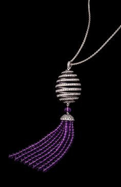 Spiral diamond and amethyst tassel limited edition Fabergé pendant