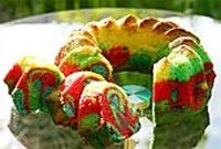 papageienkuchen-parrot cake from Germany for Faith's parrot party!  Use a multi-color glaze.