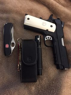EDC- Springfield Champion Operator, Victorinox Trekker with matching mini LED light and sheath and KeySmart Custom Glock, Custom Guns, Weapons Guns, Guns And Ammo, 1911 Pistol, Colt 1911, Best Concealed Carry, Everyday Carry Gear, Cool Guns