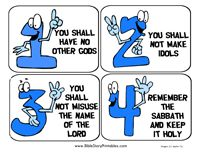 Free Ten Commandment printables - flashcards, bookmarks