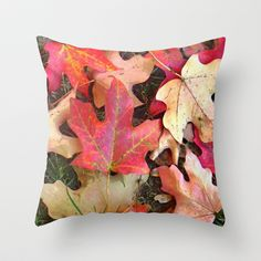 Maple Leaves in Fall Throw Pillow by Betty Mackey
