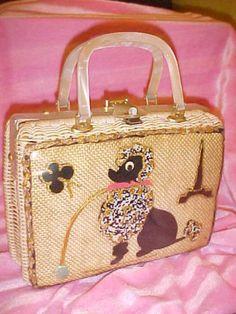 Vintage Beaded Black POODLE Purse Handbag 1950s Embellished Adele Tote Wood Bag