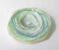 Anstecker Brosche Satin-Blüte petrol-mint-weiß von soschoen auf DaWanda.com