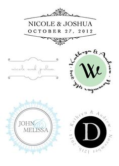 wedding logo - personalized monogram - initials for stationery