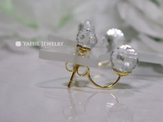 Classic Double Crystal Earrings, Floating Crystal Ball Earrings, Sterling Silver Post, Quality Swarovski Elements, Disco Ball Earrings by YaesilJewelry on Etsy Double Pearl Earrings, Crystal Earrings, Disco Ball, Crystal Ball, Swarovski, Sterling Silver, Crystals, Trending Outfits, Unique Jewelry