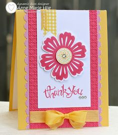 hand crafted thank you card from Stampin' Anne: Mixed Bunch ... Dynamic Duos #64 colors .... rose pink and yellow .... luv this color combo ... bright and cheerful ... like the layout design ... Stampin' Up!