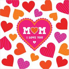 Vector love card or poster template with bright patterned hearts and text frame. Great for Valentine's Day, wedding, engagement, anniversary. Greeting Card Template, Mother's Day Greeting Cards, Mom Cards, Mothers Day Cards, Love Card, Mother Dearest, Mother Card, Happy Mother S Day, Love You Mom