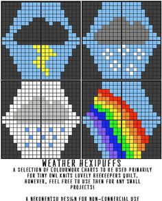 Ravelry: A Selection of Hexipuffs: Weather pattern by Louise Lavender
