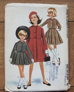 Items similar to Vintage 60s McCalls pattern 6549 girls COAT SKIRT JACKET sz 10 uncut on Etsy