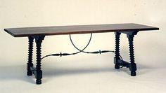 Spanish Renaissance dining table, walnut and  Iron
