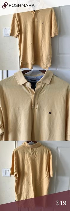 """Tommy Hilfiger Men's POLO Yellow L Men's L Tommy Hilfiger Polo Shirt. 100% cotton   Measurements are Approximate and taken while laying flat and unstretched  Shoulder to shoulder 19.5"""" Bust (underarm to underarm) 23"""" Length (top shoulder to hemline) 30""""  Pre-owned Good used condition, no holes, no rips or stains. From Smoke Free and Pet Free home. Tommy Hilfiger Shirts Polos"""