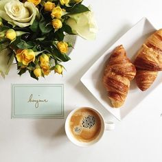 Yellow roses, croissants and coffee...bonjour!