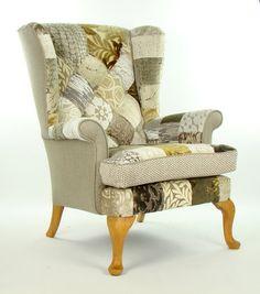 Bespoke Natural Patchwork Parker Knoll Armchair