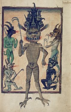 A fifteenth-century French manuscript depicts Lucifer and his demons, symbols of evil and hell; (Ms Douce, fol (Bodleian Library via Medieval Imaginations) Engel Illustration, French Illustration, Ange Demon, Book Of Hours, Angels And Demons, Medieval Art, French Artists, Religious Art, Mythical Creatures