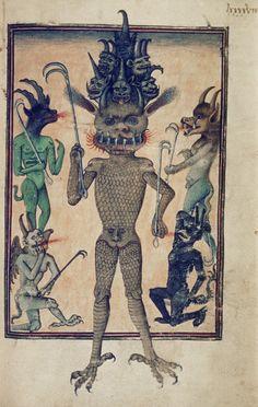 Bodleian Library, MS. Douce 134, f. 98r ('Lucifer accompanied by lesser devils'). Livre de la Vigne nostre Seigneur. France, c. 1450-1470