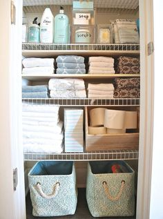 10 DIY Dollar Store Home Organization Ideas You Wish You Knew Sooner Tips and tricks for organizing linen closet or cabinet. Tips and tricks for organizing linen closet or cabinet. 10 DIY Dollar Store Home Organization Ideas You Wish You Knew Sooner Bathroom Closet Organization, Bathroom Organisation, Closet Storage, Bathroom Storage, Organized Bathroom, House Organization Ideas, Bathroom Styling, Under Kitchen Sink Storage, Storage Room Organization