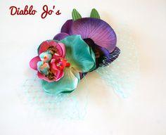 Teal and Purple Bird hair flower with Veil, Rockabilly Wedding, Alternative, Pin up by DiabloJos on Etsy